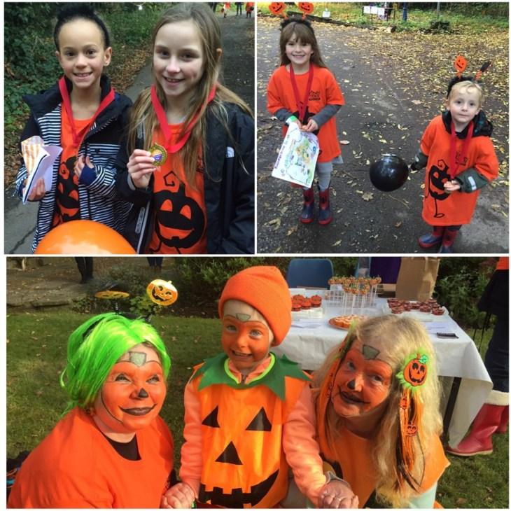Children dressed as pumpkins for Haven House Pumpkin Plod Halloween